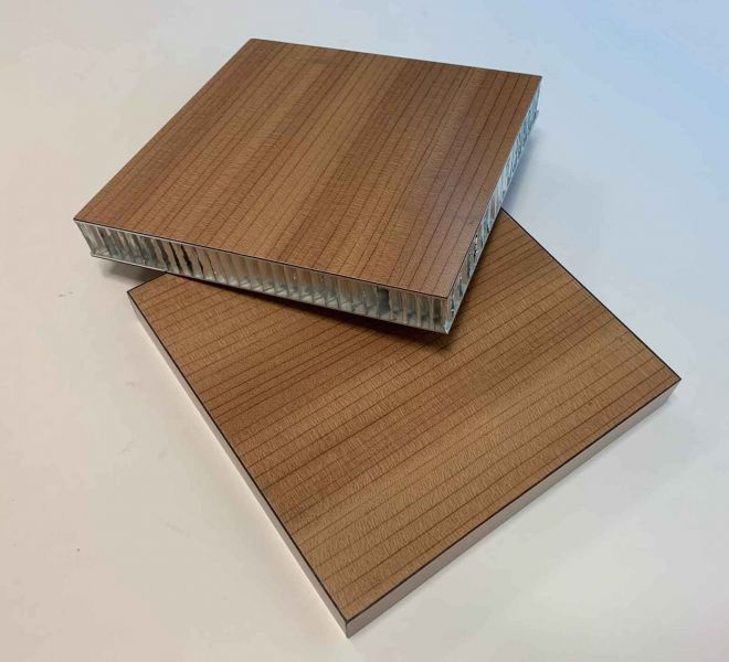 Aluminum honeycomb with wood grain coating